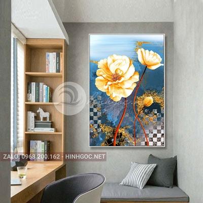 Tranh hoa lá, bông hoa trắng nở đẹp-THC-165