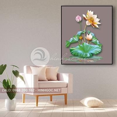 Tranh hoa sen đang nở tỏa hương-THC-166