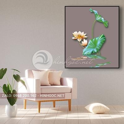 Tranh hoa sen đang nở tỏa hương trên mặt hồ-THC-167