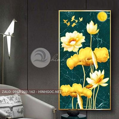 Tranh hoa sen và đàn chim vàng-THC-169