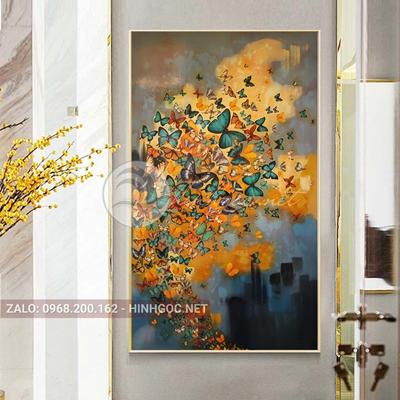 Tranh hiện đại, đàn bướm sắc màu vui vẻ-THC-171