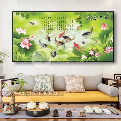 Tranh cá chép và hoa sen trang trí đẹp-THC-173