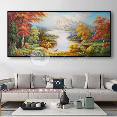 Tranh phong cảnh thiên nhiên, đôi hươu trên sông-THC-174