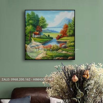 Tranh phong cảnh thiên nhiên, ngôi nhà và cậu bé chăn cừu-THC-175