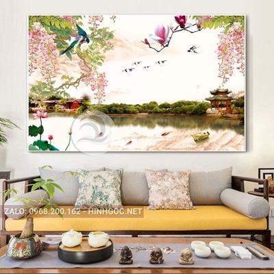 Tranh phong cảnh hoa sen trên sông-THC-23