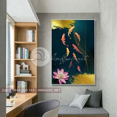 Tranh cá chép và hoa sen đẹp-THC-28