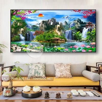 Tranh sơn thủy hữu tình, hoa sen và thác nước trên hồ-THC-56