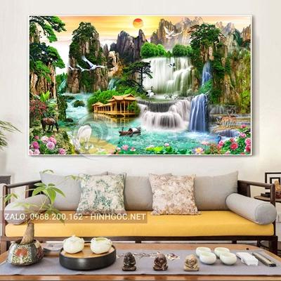 Tranh sơn thủy hữu tình, hoa sen và thác nước trên hồ đẹp-THC-57