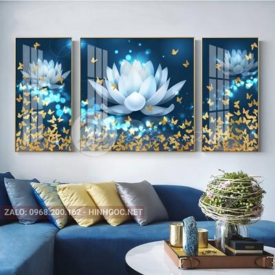 Tranh bộ 3 bức, tranh hoa sen và bướm-THC-58