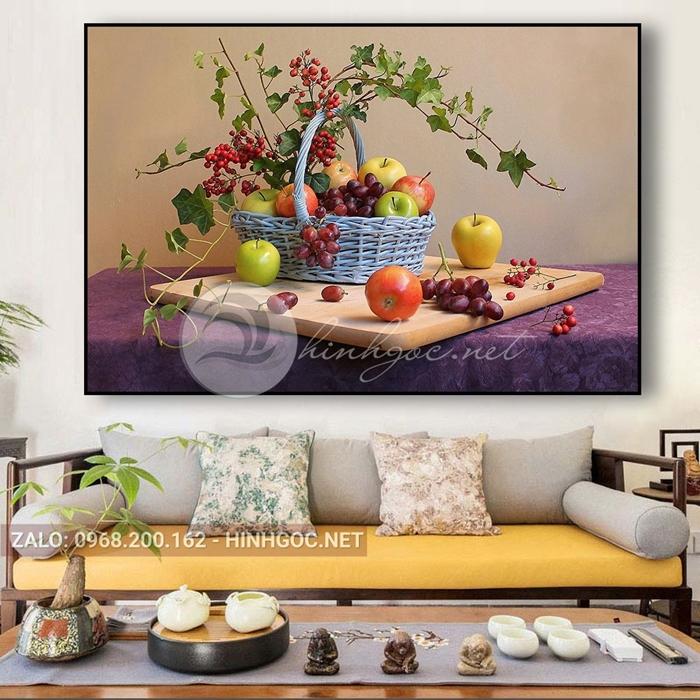 Tranh ẩm thực, giỏ hoa quả nho ngon-THC-76