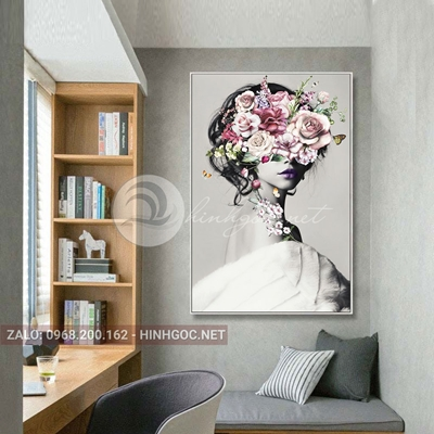 Tranh chân dung, thời trang cô gái cài hoa đẹp -THC-81