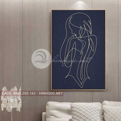 Tranh chân dung, cô gái phác họa hình line art-THC-83
