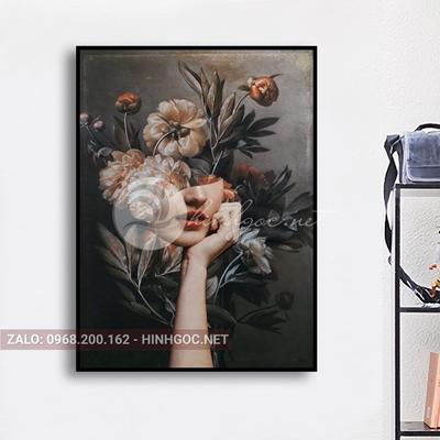 Tranh chân dung, cô gái cài hoa bí ẩn-THC-87