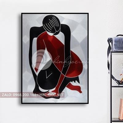 Tranh chân dung, cô gái phác họa hình line art-THC-88