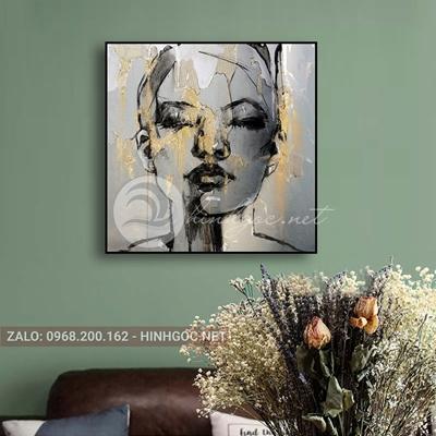 Tranh chân dung, cô gái phác họa hình line art-THC-92