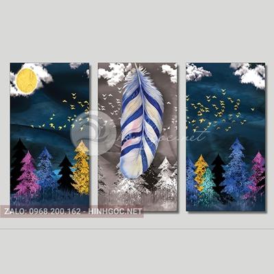 Tranh lông vũ, bộ 3 bức, hàng cây thông và lông vũ đẹp-THC-94