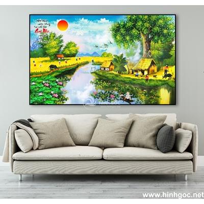 Tranh sơn dầu làng quê Việt Nam - TLQ-116
