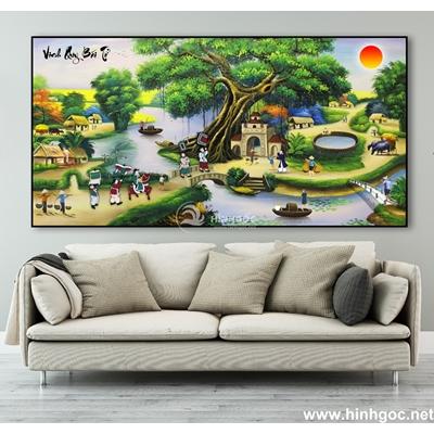 Tranh sơn dầu làng quê Việt Nam - TLQ-88