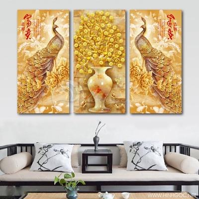 Tranh bộ chim công vàng và lọ hoa - TPART-75