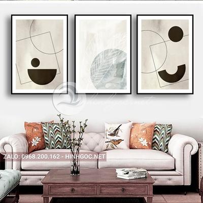 Tranh trừu tượng, bộ 3 bức hình line art-TTDP-46