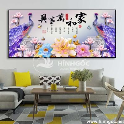 Tranh phong cảnh đôi chim công và hoa-UT-145