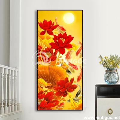 Tranh cá chép hoa sen đỏ-UT-188