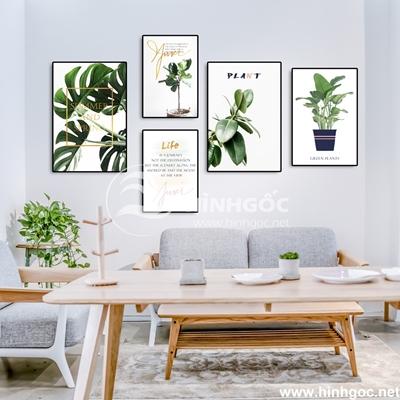 Bộ 5 tranh lá cây nhiệt đới-UT-200