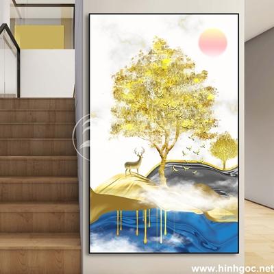Tranh trừu tượng cây tuần lộc vàng và hươu-UT-231