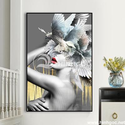 Tranh chân dung cô gái và chim bồ câu-UT-233