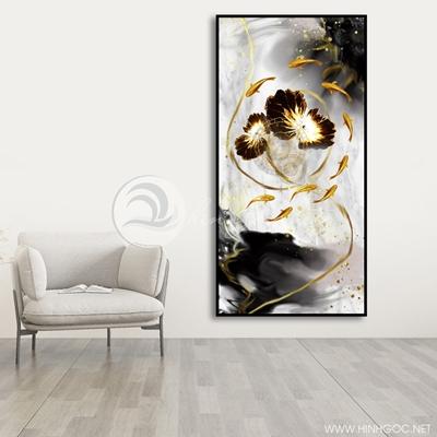 Tranh cá chép và hoa sen treo tường-VBB-100