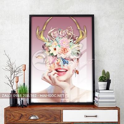 Tranh thời trang, chân dung cô gái đội hoa sừng hươu-VBB-120