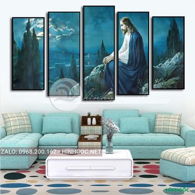 Tranh bộ 5 bức, tranh công giáo, Chúa và cây-VBB-122