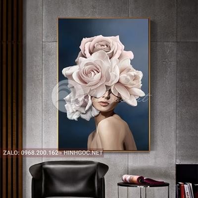 Tranh thời trang, chân dung cô gái và hoa-VBB-133