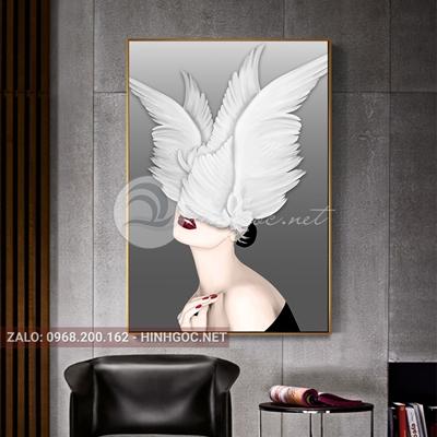 Tranh thời trang, chân dung cô gái và đội cánh chim-VBB-134