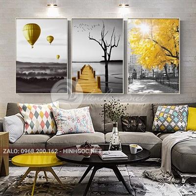 Tranh bộ 3 bức, khinh khí cầu, cây cầu vàng-VBB-169