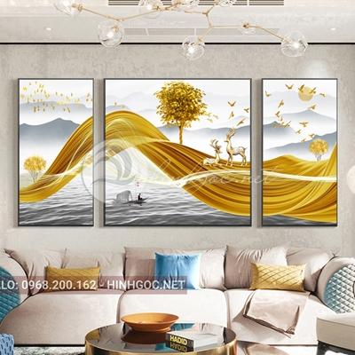 Tranh bộ 3 bức, hươu đứng trên dải vân vàng và cây tuần lộc-VBB-179