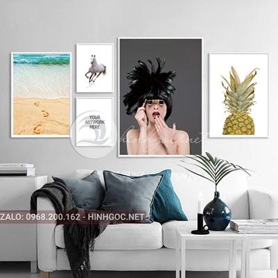 Tranh bộ 5 bức, cô gái và cảnh biển,quả dứa, ngựa-VBB-200