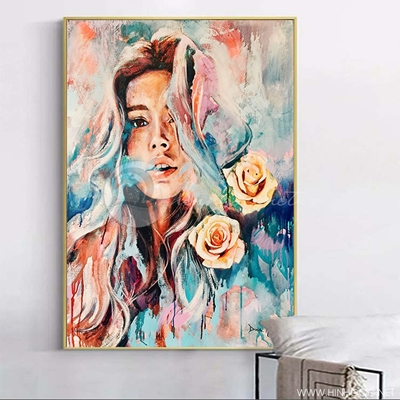 Tranh treo tường tranh chân dung cô gái và hoa-VBB-49