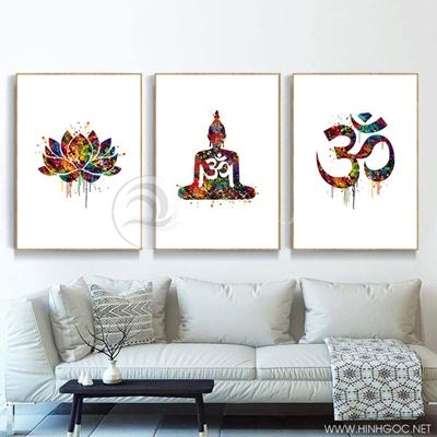 Tranh treo tường bộ 3 bức tranh đức phật và hoa sen sắc màu-VBB-53
