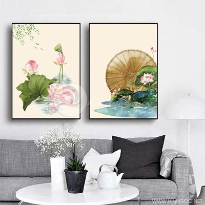 Tranh treo tường bộ 2 bức hoa sen và cá chép-VBB-54