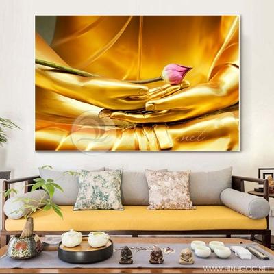 Tranh treo tường tượng vàng và hoa sen hồng-VBB-58