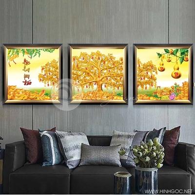 Tranh treo tường tranh tết cây lộc vàng và bầu tiên-VBB-63