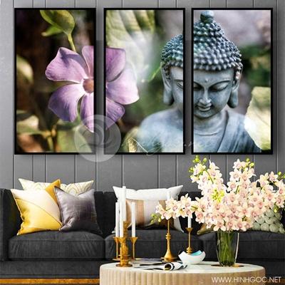 Tranh treo tường bộ 3 bức hoa và đức phật-VBB-67