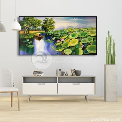 Tranh treo tường đầm hoa sen hồng và thuyền-VBB-73