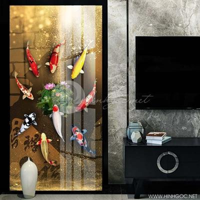 Tranh treo tường cửu ngư quần hội cá chép và hoa sen-VBB-91