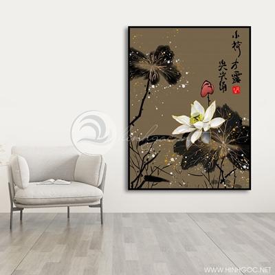 Tranh treo tường tranh hoa sen họa tiết-VBB-95