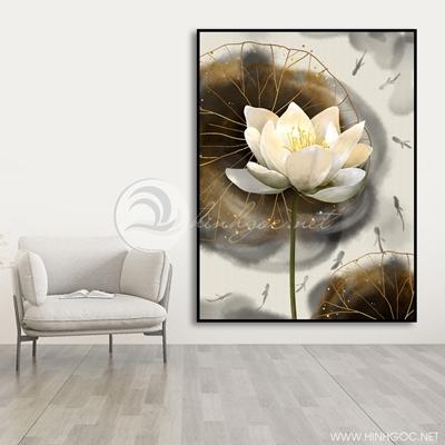 Tranh treo tường tranh cá chép và hoa sen-VBB-97