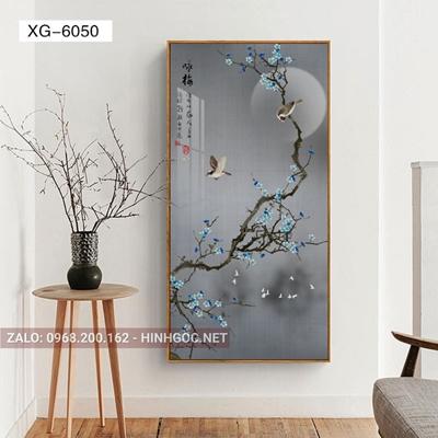 Tranh phong cảnh đôi chim trên cành hoa-XG-6050