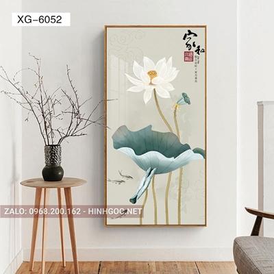 Tranh hoa sen, bông sen trắng nở đẹp-XG-6052