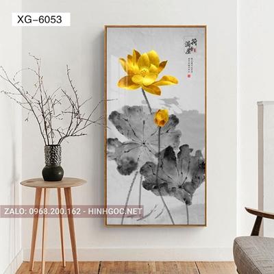 Tranh hoa sen, bông sen vàng nở đẹp-XG-6053